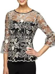 Plus Floral Embroidered Blouse