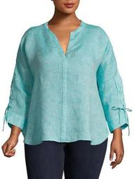 Plus Lace-Up Linen Top