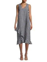 Plus Linen Gingham Ruffle Dress