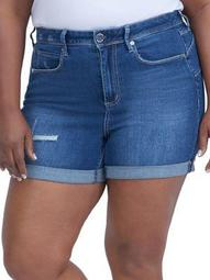 Plus Rolled Cuff Denim Shorts