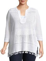 Plus Right On Track Crochet Tunic