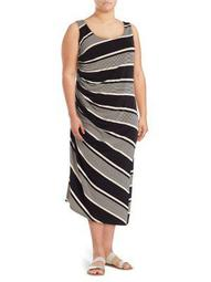 Plus Sleeveless Ruched Striped Dress