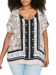 Plus Splitneck Mixed-Media Printed Poncho