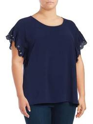 Plus Flutter Sleeve Top