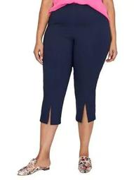Plus Front Slit Pull-On Capri Pants