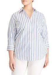 Plus Striped Non-Iron Button-down Shirt