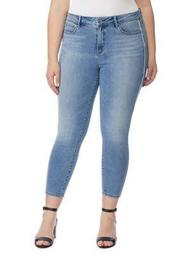 Plus Pin Up Racer Mid Rise Cropped Skinny Jeans