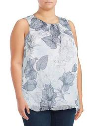 Plus Floral Etched Sleeveless Top
