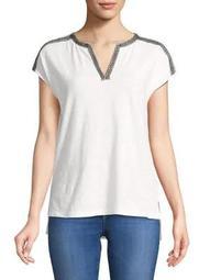 Plus Embroidered-Stripe Splitneck Top