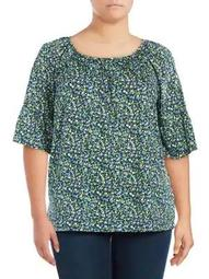 Plus Tiny Wildflower Bell-Sleeve Top