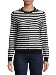 Plus Long-Sleeve Stripe Cardigan