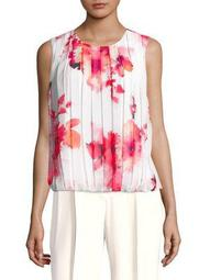 Plus Floral Pleated Blouse