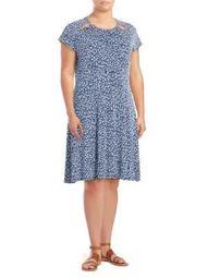 Plus Floral Split Shoulder Fit-and-Flare Dress