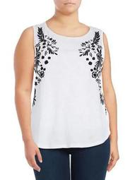 Plus Sleeveless Embroidered Cotton Tank