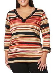Plus Striped Grommet Top