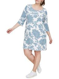 Plus Three Quarter Sleeve Printed Dress