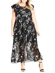 Plus Flutter Rose Maxi Dress