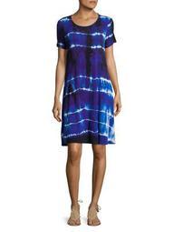 Plus Tie-Dye Short Sleeve Swing Dress