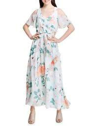 Plus Floral Cold-Shoulder Ruffled Dress