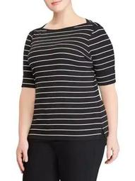 Plus Striped Short-Sleeve Top