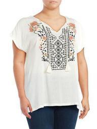Plus Carmensita Embroidered Shirt