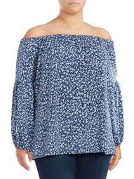 Plus Off-the-Shoulder Floral Blouse