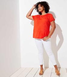 LOFT Plus Linen Twist Sleeve Tee