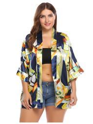 Batwing Sleeve Print Casual Loose Satin Kimono Cardigan Plus Size CCGE