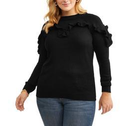 Women's Plus Ruffle Sleeve Sweater