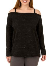 Danskin Now Women's Plus Active Off the Shoulder Pullover Sweatshirt
