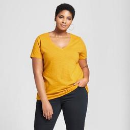 Women's Plus Size V-Neck Short Sleeve T-Shirt - Ava & Viv™