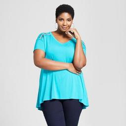 Women's Plus Size Embroidered Shoulder Short Sleeve T-Shirt - Ava & Viv™