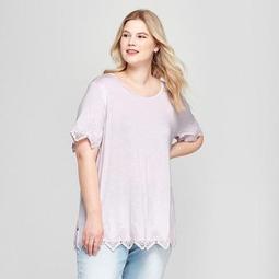 c6a17eda84a Ava   Viv™ Women s Plus Size Eyelet Knit Short Sleeve T-Shirt