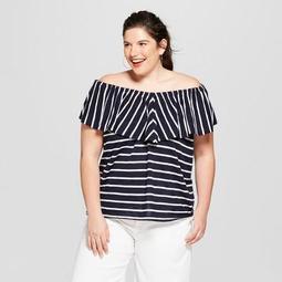 Women's Plus Size Striped Off the Shoulder Flounce Knit Sleeveless Top - Ava & Viv™ Navy/White