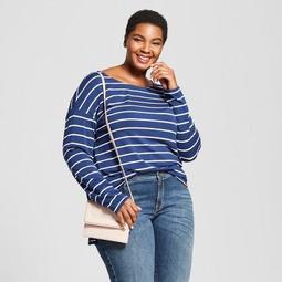 Women's Plus Size Drapey Boatneck Long Sleeve T-Shirt - Ava & Viv™
