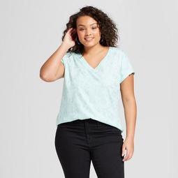 Women's Plus Size V-Neck Short Sleeve T-Shirt - Ava & Viv™ Aqua Floral