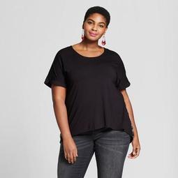 Women's Plus Size Mixed Media Short Sleeve T-Shirt - Ava & Viv™ Black Floral Print