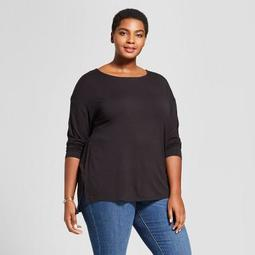 Women's Plus Size Drapey Boatneck Long Sleeve T-Shirt - Ava & Viv™ Black