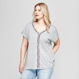 Women's Plus Size Embroidered Short Sleeve Knit Top - Ava & Viv™ Heather Gray