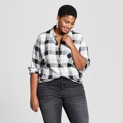Women's Plus Size Plaid Button-Down Long Sleeve Shirt - Ava & Viv™ Black