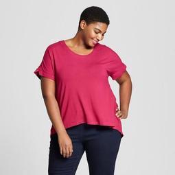 cbe09e09865 Ava   Viv™ Women s Plus Size Mixed Media Short Sleeve T-Shirt