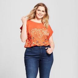 Women's Plus Size Floral Print Crew Neck Short Sleeve T-Shirt - Xhilaration™ Orange