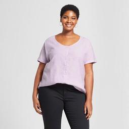 beb5b5eb844 Ava   Viv™ Women s Plus Size Tie Front Woven Short Sleeve Top