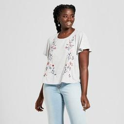 Women's Plus Size Embroidered T-Shirt - Xhilaration™ Heather Gray