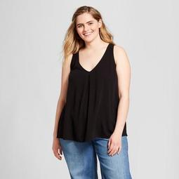 Women's Plus Size Side Lace-Up Tank - Xhilaration™ Black