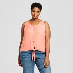 Women's Plus Size Button Front Tie Tank - A New Day™