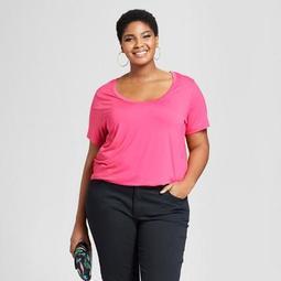 Women's Plus Size Perfect Short Sleeve T-Shirt- Ava & Viv™ Pink