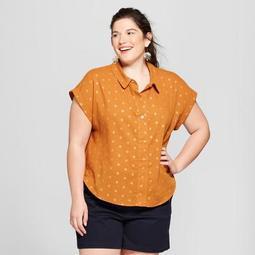 Women's Plus Size Polka Dot Short Sleeve Lurex Popover Shirt - A New Day™ Rust