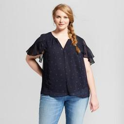 Women's Plus Size Polka Dot Print Short Sleeve Ruffle Blouse - Ava & Viv™ Navy