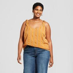 Women's Plus Size Striped Tie Shoulder Tank Top - A New Day™ Rust